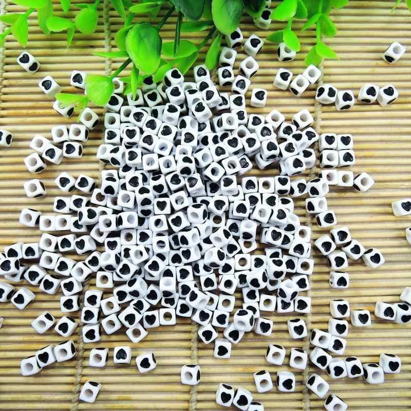 White Acrylic Cube Quảng Loose hạt mạ Black Heart Beads Đối Loom Bracelet Trang sức Làm 7x7mm 100 PCS ZM-17