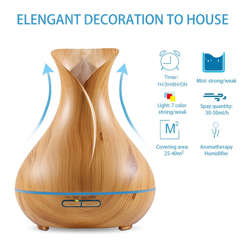 DEVISIB 400ml Aroma Essential Oil Diffuser Wood Grain Ultrasonic Cool Mist Humidifier 7 Color LED Light for Office Home Bedroom