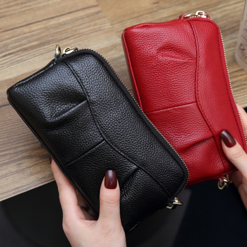 Clutch-Bags Purse Genuine-Leather Luxury Wallet Evening-Bags Mobile-Phone Zipper Small