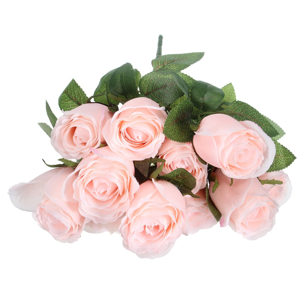 11 Head Pale Pink Roses Banquet Simulation Flower Leaves Silk