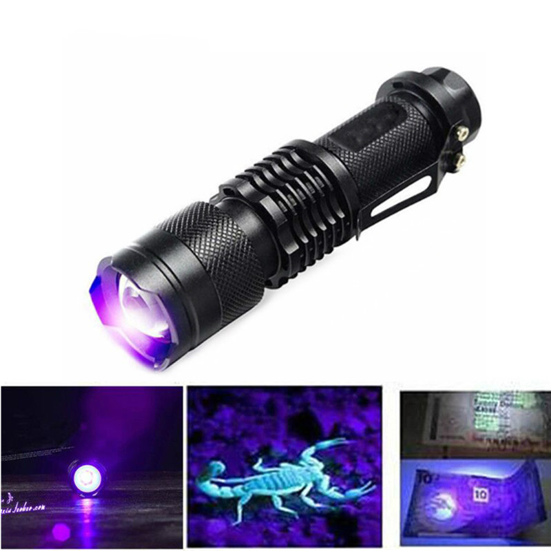 High Quality CREE UV LED Flashlight Scorpion Torch 395nm Purple Violet Light Uv Lamp Torcia Linterna [free ship] led uv scorpion flashlight waterproof high power 395nm ultraviolet lamp purple uv torch led light zoom flashlight