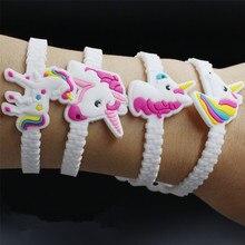 10 unids/lote fiesta de goma brazalete pulsera decoraciones de fiesta de cumpleaños de los niños favores de la ducha de bebé Unicornio decoración fiesta suministros
