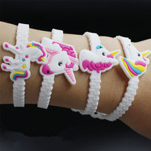 10pcs/lot Unicorn Party Rubber Bangle Bracelet Birthday Party Decorations Kids Baby Shower Favors Unicornio Decor Party Supplies(China)