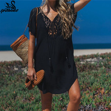 2019 Long Lace Cotton Beach Cover up Sarong Swim Cover up Pareos de Playa Mujer Beachwear Bikini Cover up Tunics Beach Dress
