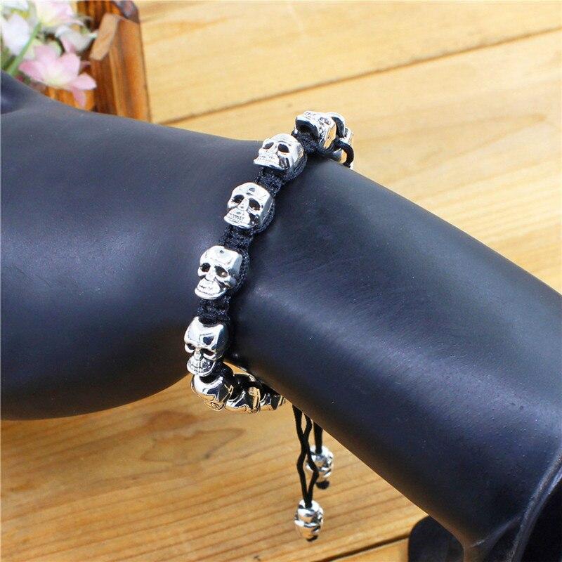 Sonrisa esqueleto cráneo pulseras Strand Vintage Boho antiguo plata tejida cuerda hecha a mano artesanía moda joyería 3