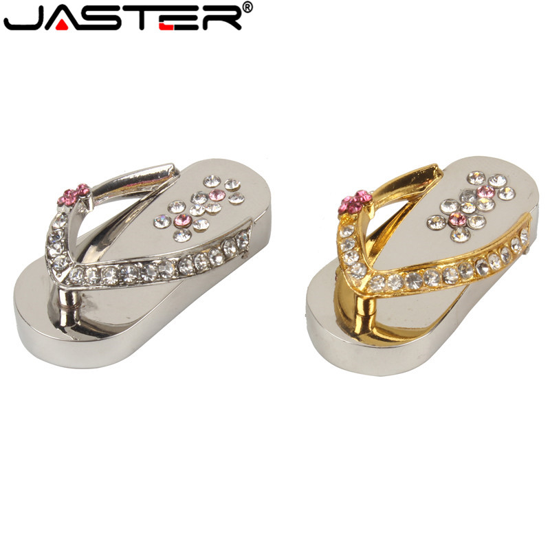 Metal Crystal Slippers USB Flash Drive Memory Stick Pen Drive Usb Stick 4GB 8GB 16GB 32GB Pendrives  Girl's Gift Beauty Shoes