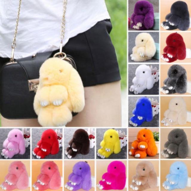 15CM Rex Fluffy Rabbit Pendant Charm Bunny Keychain Women Rabbit Fur  Keyrings Pom Toy Doll Hanging Jewelry Gift 233e96af63da
