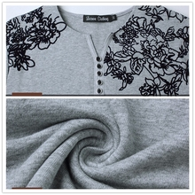 Floral Print Henry Collar Button Decorate Long Sleeve T-shirt for Men
