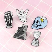Специальные штырьки! Смешной ужас Хэллоуин череп синий черный и белый Призрак Скелет булавка для друзей Сюрприз подарок