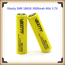 Vbatty IMR 18650 3000mah 40A 3.7V rechargeable high drain battery with Button to