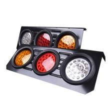 Красный, желтый, белый, 12 В, автомобильные круглые задние фонари, указатель поворота, ходовые задние светодиодные отражатели, боковые предупреждающие задние фонари для грузовиков