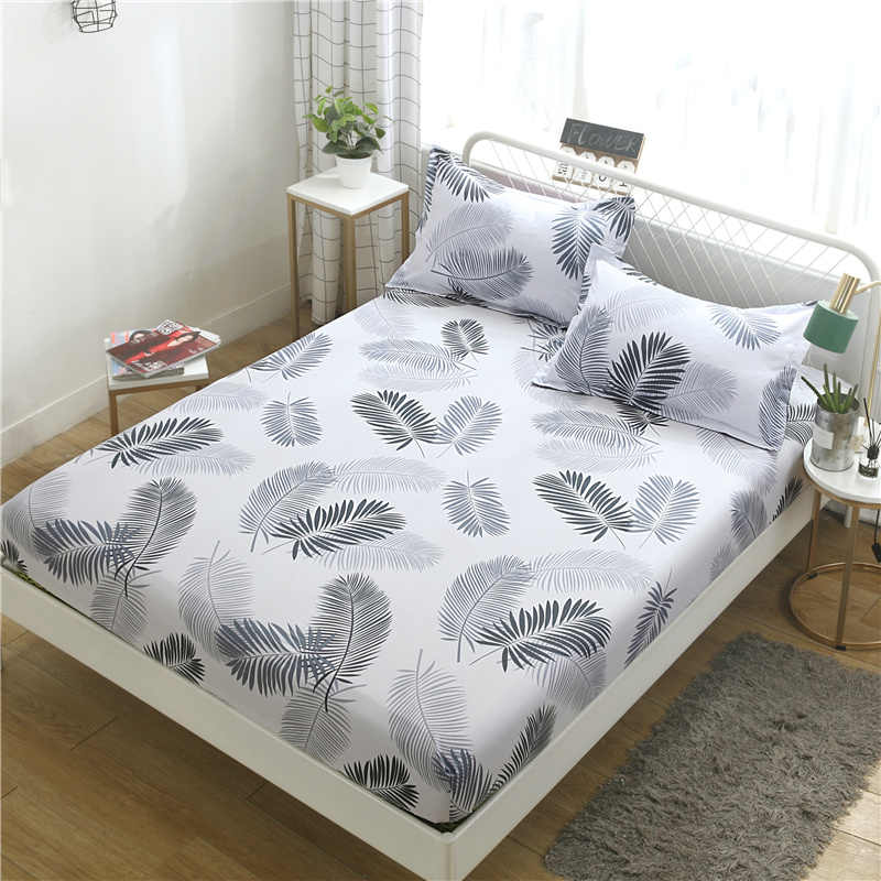 Bed cover full package flamingo bed sheet printing single double cover bed linen dual-use mattress slip protection cover