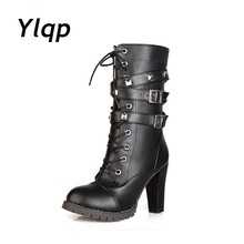 Fashion Women Autumn Winter Mid-Calf Boots Sexy High Heel Shoes Woman zipper Buckle Strap Lace Up Motorcycle Boots botas mujer