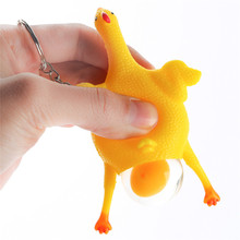 Funny Creative Squishy Toy Layer Chicken Trick Toy with Key Chain Funny Tricky Toys Practical Jokes