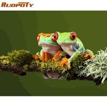 Ruopoty рамка лягушка животные diy Краска по номерам современный