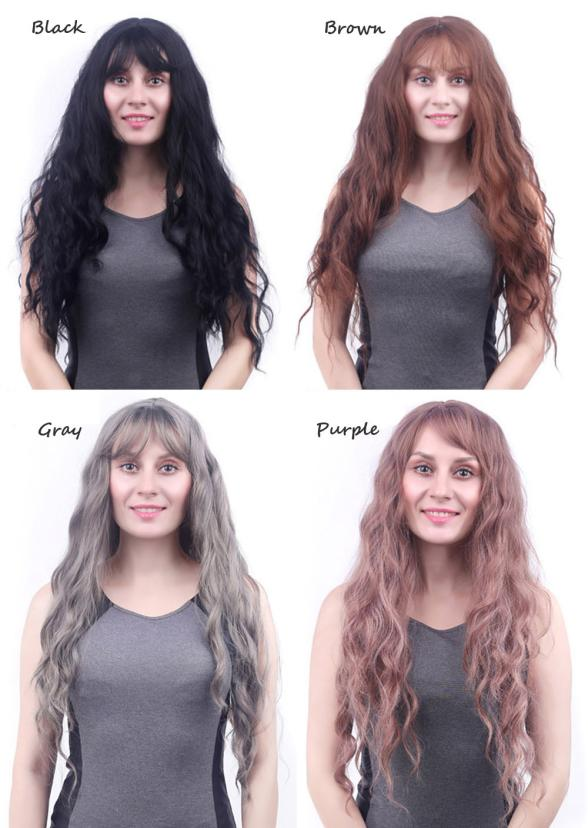 Womens Fashion Lady Long Wavy Curly Full Wig Air Bang Water Wave Hair 0704