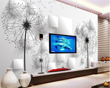 beibehang Custom 3D wallpaper 3d stereo dandelion TV background wall for walls 3 d papel de parede mural
