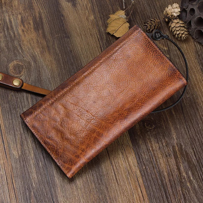 Wallets Vintage Designer Hand Painting Color Female Envelop Wallet Genuine Cow Leather Vintage Womens Metal Hasp Long Organizer Wallet