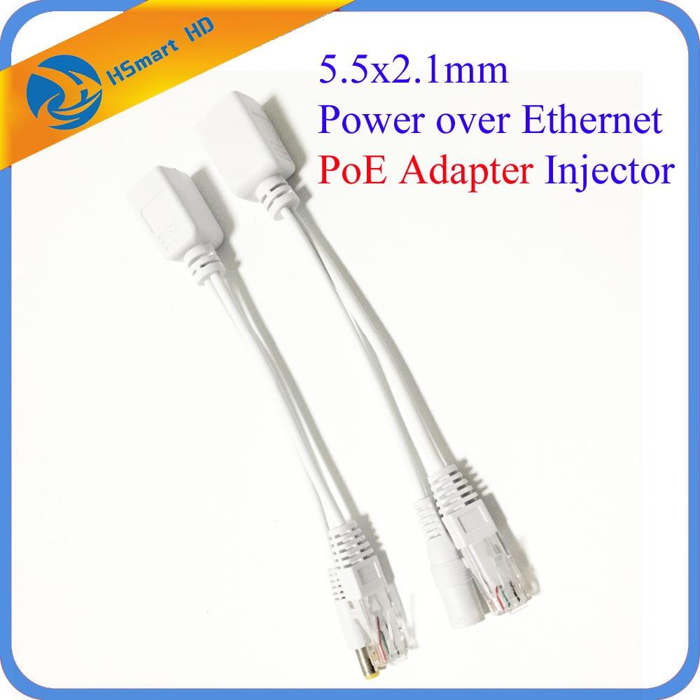 New Hot POE Adapter Cable Connectors Passive Power Cable Ethernet PoE Adapter RJ45 Injector + Splitter Kit 5V 12V 24V 48V