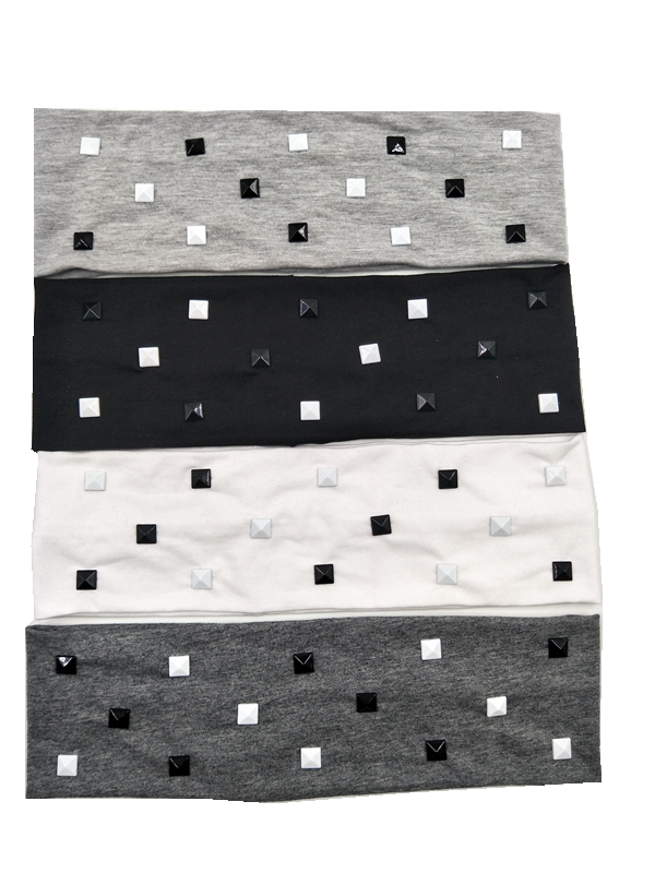 P172114 Punk good stretch 100 cotton fashion white and black square rivetsplain headwear solid headband for