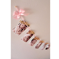 1st Birthday Decorations DIY Monthly Paper 1st One Year Photo Booth Birthday Banner String Flag Photos