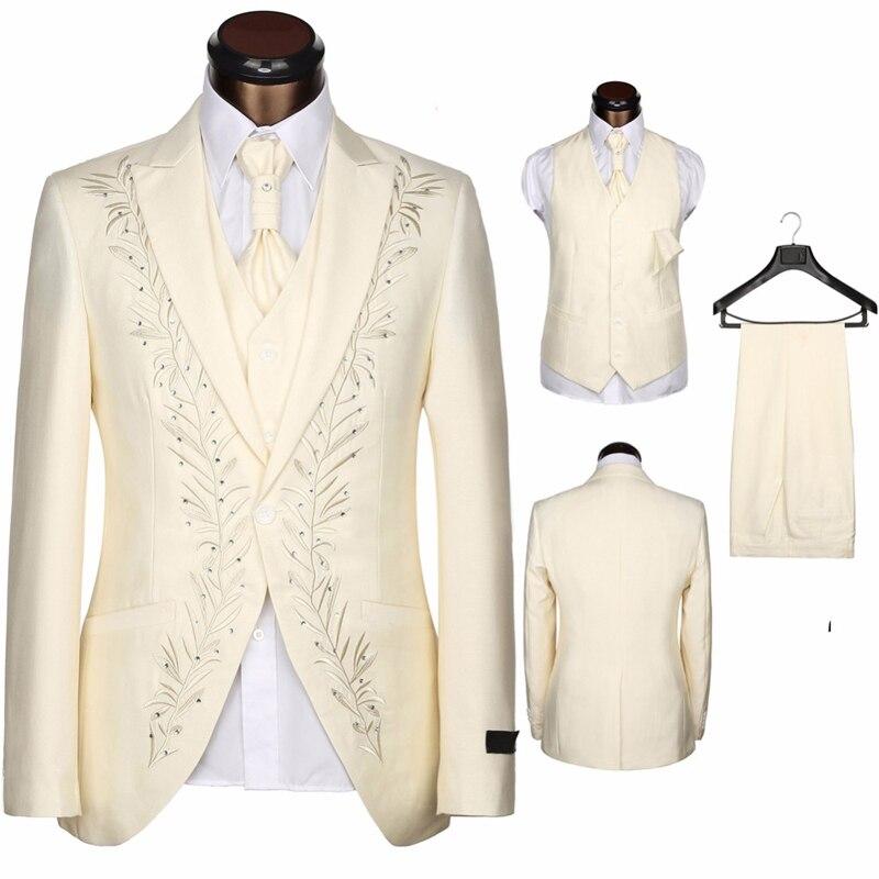 HB074 costumes sur mesure hommes broderie formelle Skinny mariage smoking doux moderne Blazer 3 pièces hommes costumes (veste + pantalon + gilet)