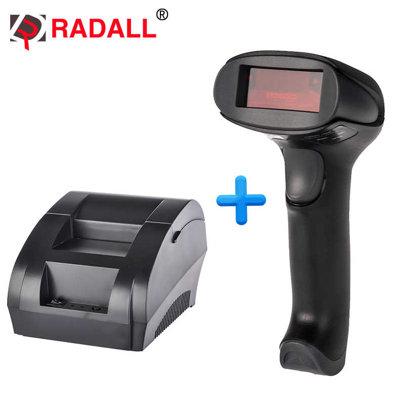 RD-5890K 58 Mm Penerimaan Termal Printer dan RD-H1 Laser Barcode Scanner untuk Supermarket POS Mesin Kabel Printer Thermal