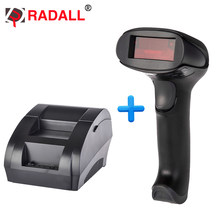 RD-5890K 58 Mm Penerimaan Termal Printer dan RD-H1 Laser Barcode Scanner untuk Supermarket POS Mesin Kabel Printer Thermal(China)