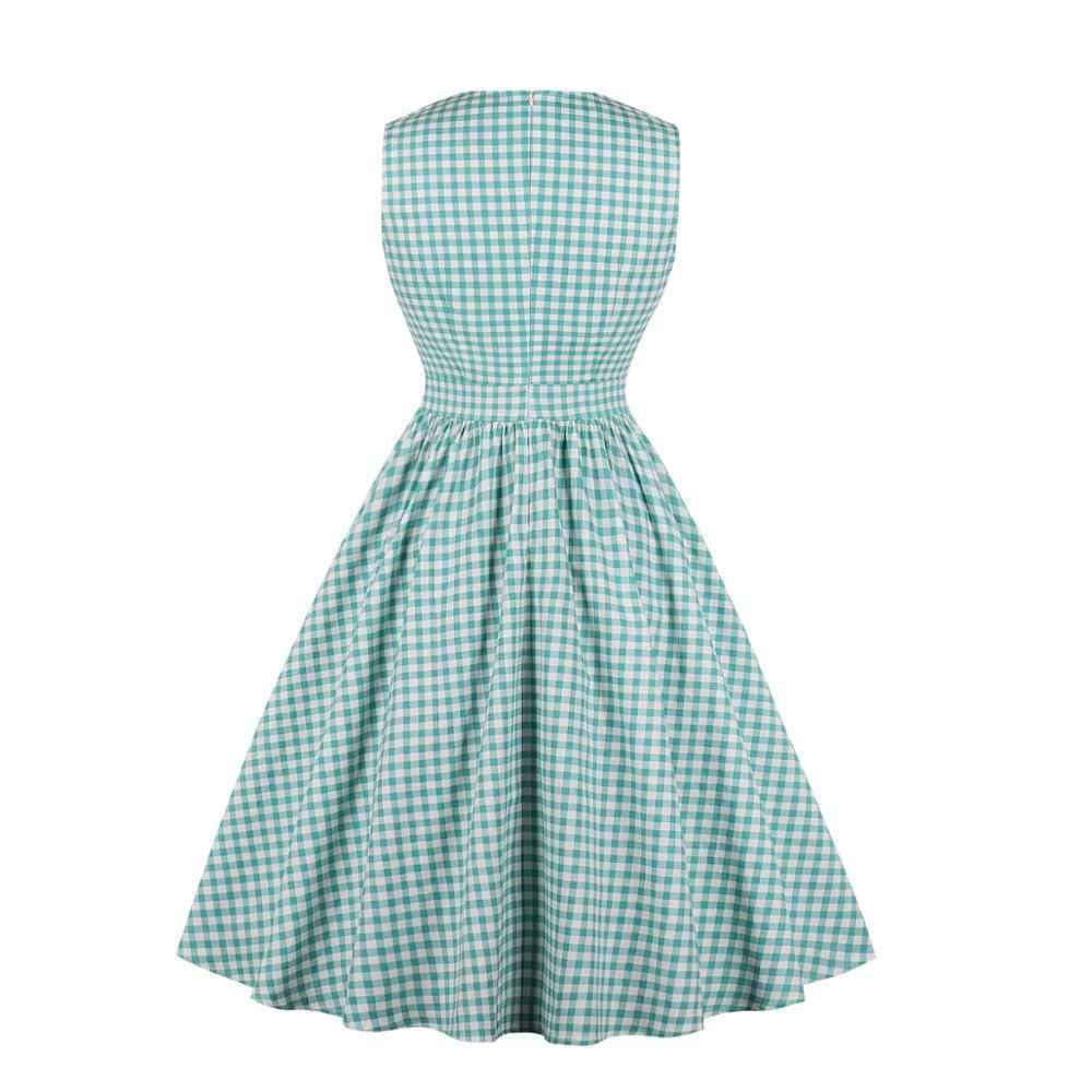 Женские винтажные платья большого размера 2019 новые летние платья Одри Хепберн 1950s 60s Vestidos клетчатые карманные ретро качели вечерние платья