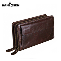 Banlosen Brand Men Wallets Double Zipper Vintage Genuine Leather Clutch Wallets Male Purses Large Capacity Men's Wallet