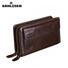 Banlosen Brand Men Wallets Double Zipper Vintage Genuine Lea