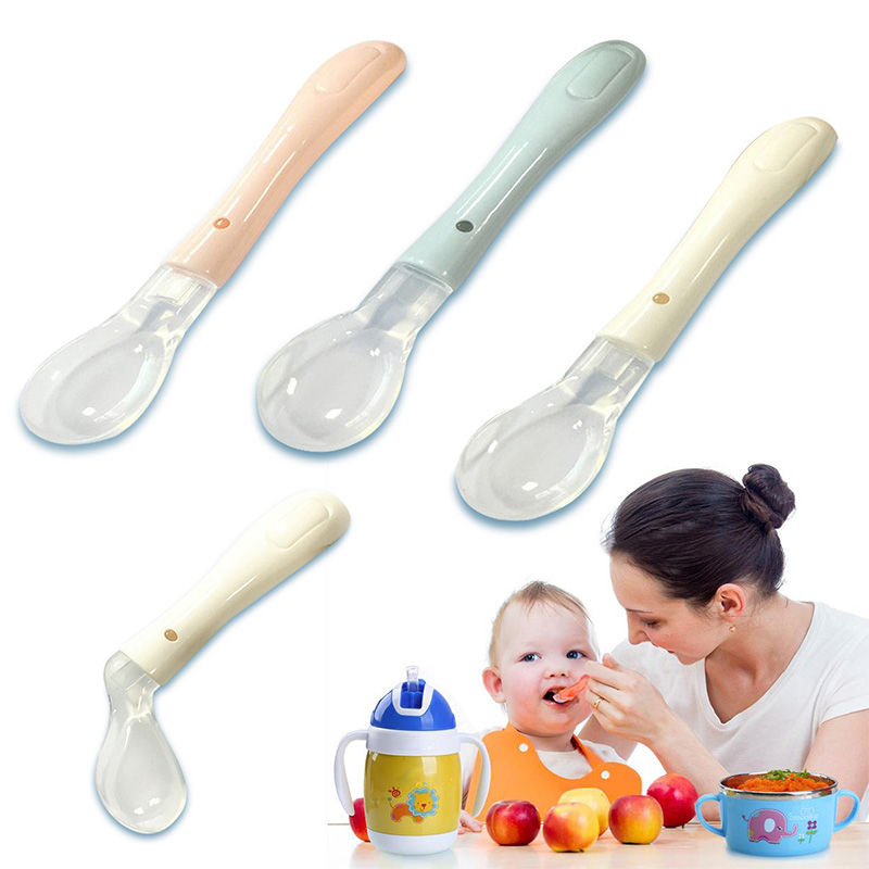Soft Non-toxic Silicone Safety Baby Feeding Spoon Kids Spoon Baby Feeder Flatware Tableware Lovely Gifts For Kids