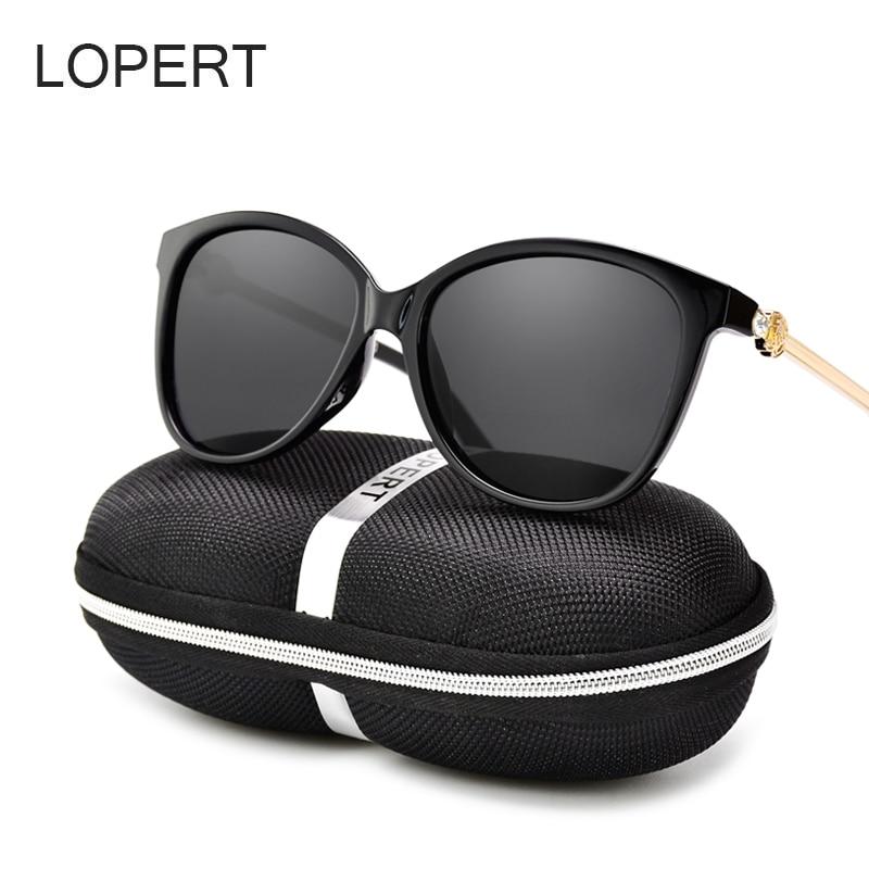 LOPERT Fashion Cat Eye Polarized Sunglasses Women Brand Designer Glasses Mirror Pink Lens Sun Glasses de sol UV400