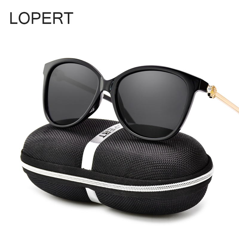 LOPERT Fashion Cat Eye Polarized Sunglasses Women Brand Designer Glasses Mirror Pink Lens Sun Glasses oculos de sol UV400
