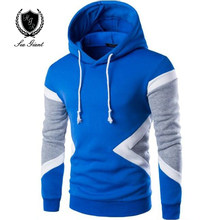 NEW Brand Mens patchwork Hooded Hoodies fashion Hip Hop long Sleeves Fleece Hoodies Men Slim Fit Rope sweatshirt Pullover XXL(China)