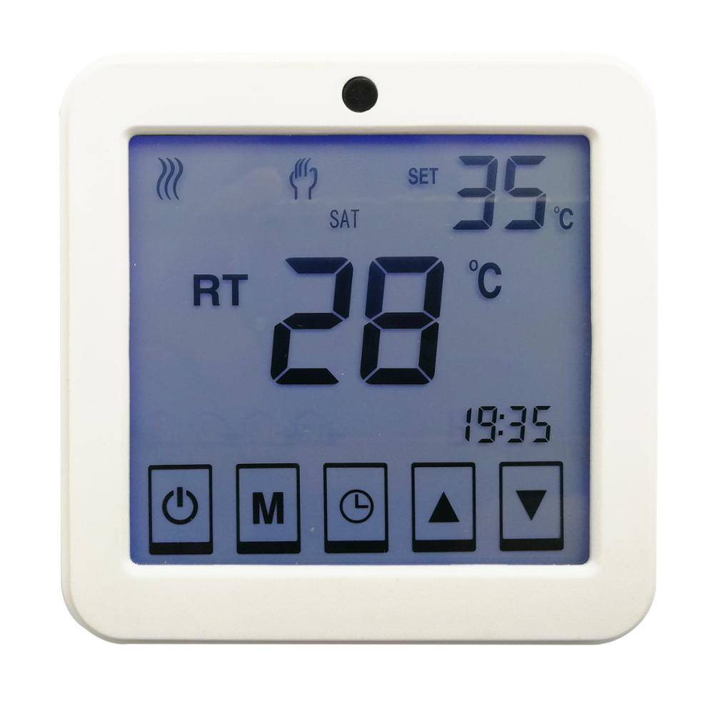 Touch screen electric heating thermostat AC220V, weekly programable thermostat for floor heating