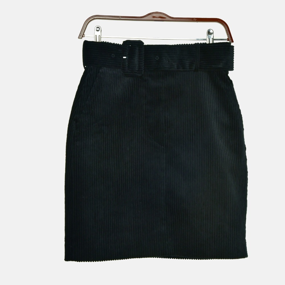 Nueva Estilo Faldas Media 2018 Pana Vintage Lápiz Con Delgada Cinturón Moda Nuevo xz5wRtUU