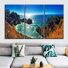 3 Piece Canvas Art Print Falls Ocean Mountain Natural Landscape Picture Modern Home Decor Living Room Wall One Set Modular Type