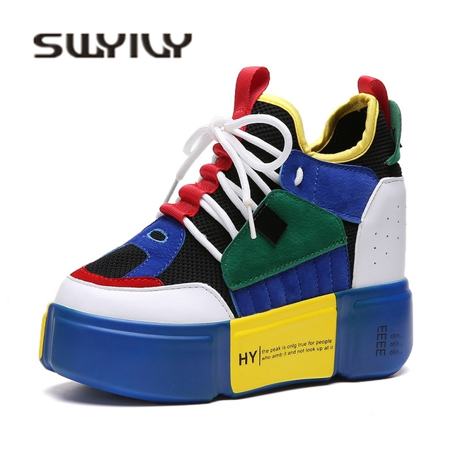 SWYIVY Women s Vulcanize Sneakers Platform Wedge 2018 Autumn New Female  Casual Shoes Canvas Breathable Lady Fashion 75e8bcd750eb