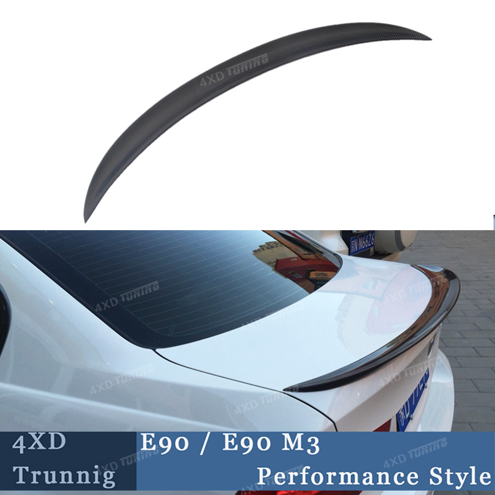 For BMW E90 Spoiler Performance Style 3 Series E90 & E90 M3 Carbon Fiber Rear Trunk Spoiler 2005 2006 2007 2008 2009 2010 2011 yandex w205 amg style carbon fiber rear spoiler for benz w205 c200 c250 c300 c350 4door 2015 2016 2017
