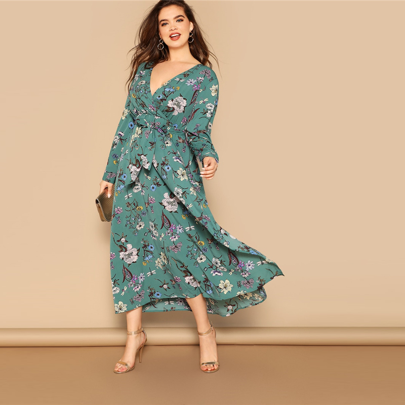 Plus Size Multicolor Waist Belted Flower Print Split High Waist Dress