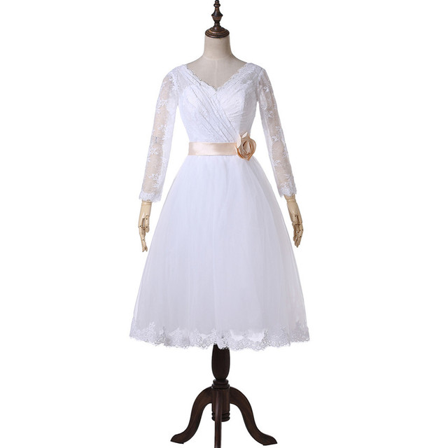 Vintage Short 50s Wedding Dresses Lace Long Sleeve Flower Belt Tulle Tea Length Bridal Gowns Vestidos