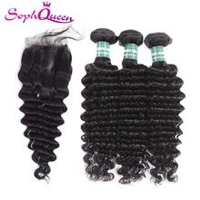 Soph Queen Deep Wave Bundles With Closure Brazlian Hair Weave Bundles With Lace Closure Remy Human Hair 3 Bundles With Closure
