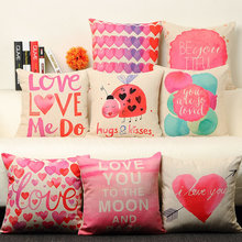 Small fresh love pink pillow 53x53cm sofa cushion simple modern creative pillow cute soft fitted with floral patterns