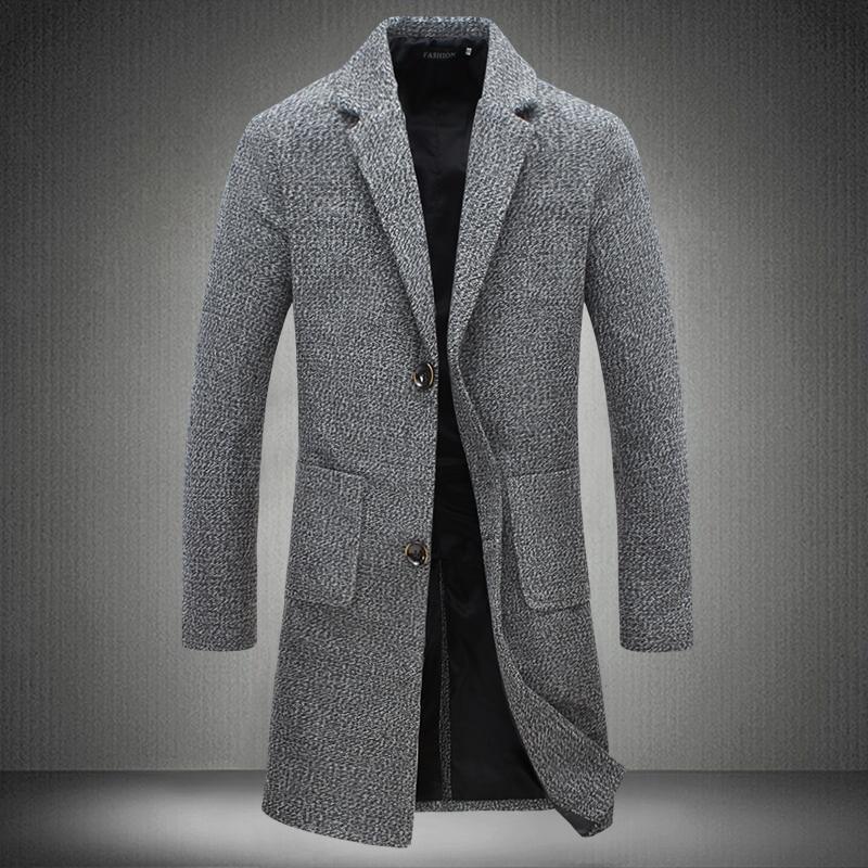 Men's business casual Long Wool & Blends New Male Autumn Single Breasted woolen coats outwear Windbreaker Size 5XL