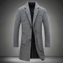 Men s business casual Long Wool Blends New Male Autumn Single Breasted woolen coats outwear Windbreaker
