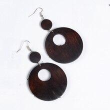 Women Vintage Simple Round Natural Wood Drop Earrings  7cm*4.5cm Silver Plated Dangle Earrings Big Circle Earrings Jewelry