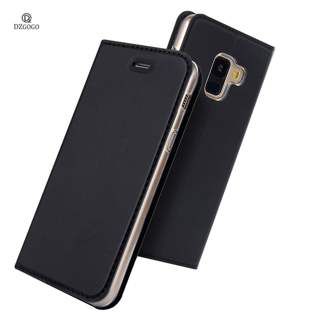 promo code 25da1 475e2 US $8.99 25% OFF|Luxury Leather Flip Cover for Samsung Galaxy A8 Plus 2018  A730F Wallet Case Business Book Cover A8+ 2018 Dual Sim Capa Card Slot-in  ...