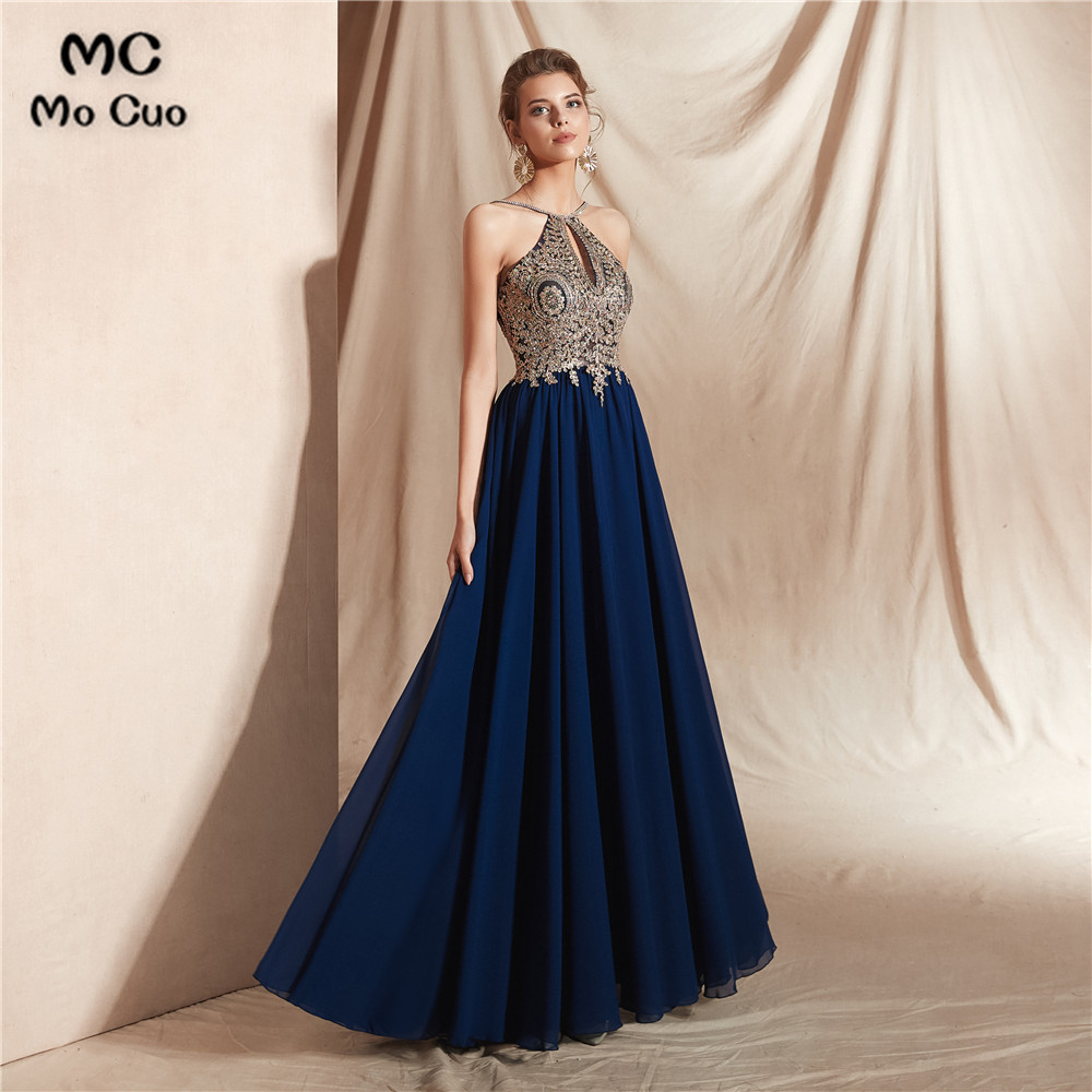 A-Line Navy Blue   Prom     Dresses   with Embroidery Appliques 2 Colors Floor Length Chiffon Evening Gown   Prom     Dress   Custom Made