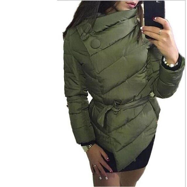 2016 зимняя куртка женщин Вниз пальто Куртки irrgeular высокий воротник с поясом парки для женщин зимние цвета теплой одежды пальто